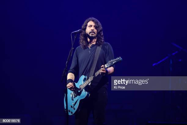 Dave Grohl of Foo Fighters performs on the Pyramid stage on day 3 of the Glastonbury Festival 2017 at Worthy Farm, Pilton on June 24, 2017 in...