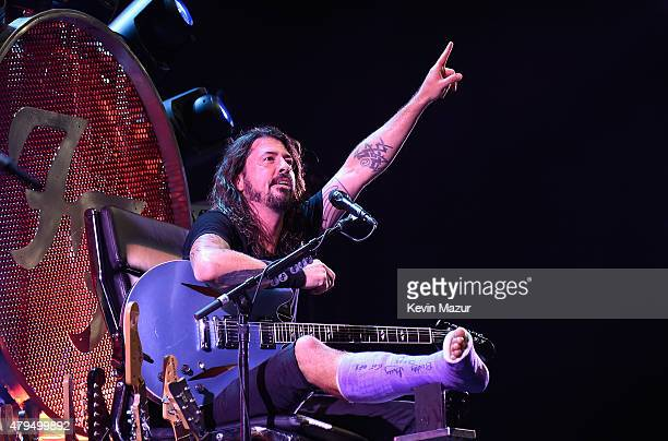 Dave Grohl of Foo Fighters performs onstage during the Foo Fighters 20th Anniversary Blowout at RFK Stadium on July 4 2015 in Washington DC