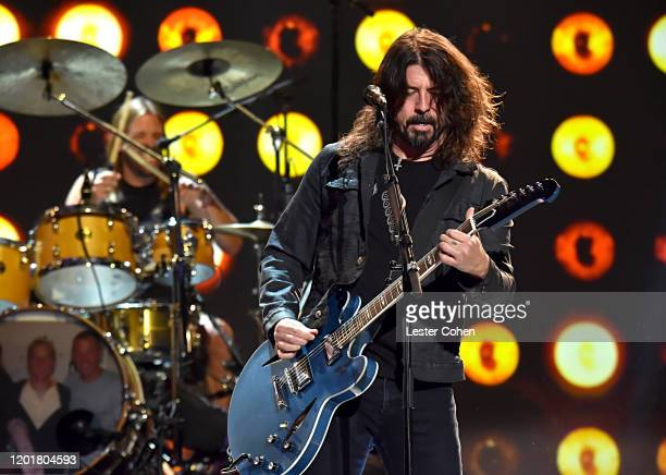 Dave Grohl of music group Foo Fighters performs onstage during MusiCares Person of the Year honoring Aerosmith at West Hall at Los Angeles Convention...
