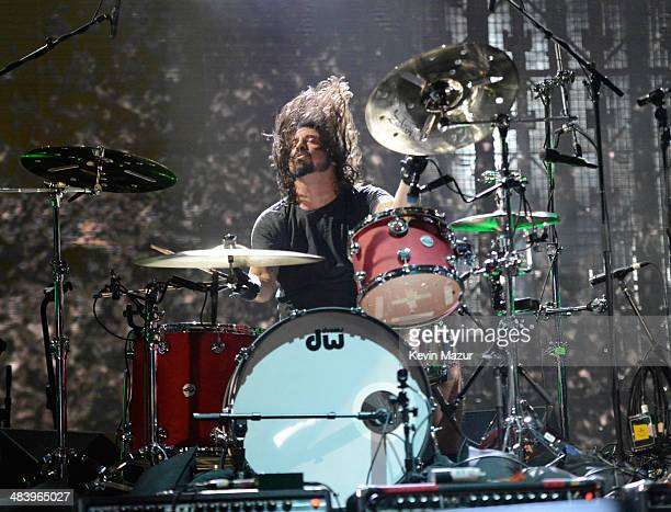 Dave Grohl of Nirvana performs onstage at the 29th Annual Rock And Roll Hall Of Fame Induction Ceremony at Barclays Center of Brooklyn on April 10,...