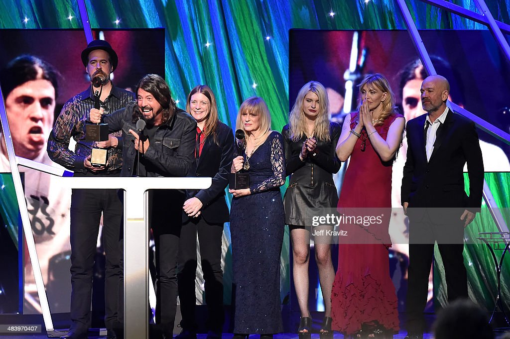 Dave Grohl of Nirvana speaks onstage at the 29th Annual Rock And Roll Hall Of Fame Induction Ceremony at Barclays Center of Brooklyn on April 10, 2014 in New York City.