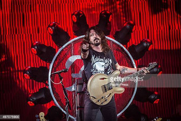 Dave Grohl of the american rock band Foo Fighters pictured on stage as he performs live at Unipol Arena Bologna Foo Fighters is an American rock band...