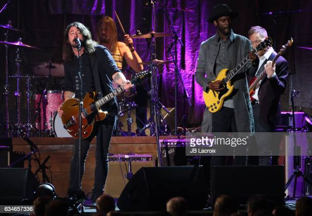 Dave Grohl of the Foo Fighters and Gary Clark Jr perform onstage for MusiCares Person of the Year honoring Tom Petty during the 59th GRAMMY Awards at...