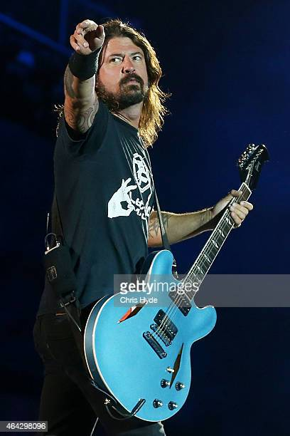 Dave Grohl of the Foo Fighters performs at Suncorp Stadium on February 24, 2015 in Brisbane, Australia.