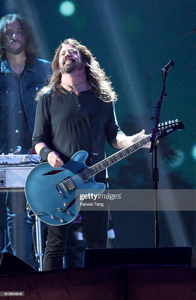 Dave Grohl of the Foo Fighters performs at the BRIT Awards 2018 held at The O2 Arena on February 21, 2018 in London, England.