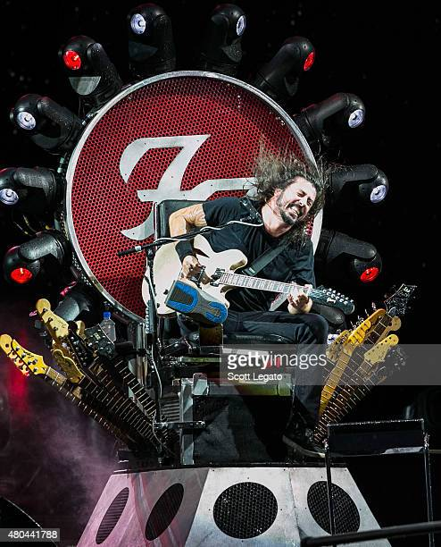 Dave Grohl of The Foo Fighters performs during a rainstorm which was later cancelled at the 2015 Festival D'ete De Quebec on July 11 2015 in Quebec...