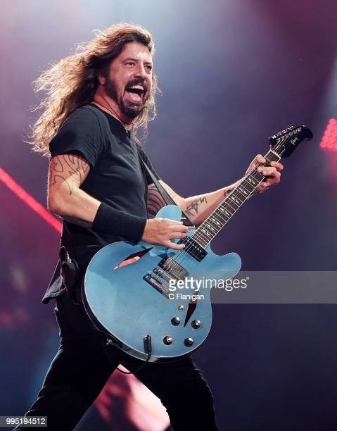 Dave Grohl of the Foo Fighters performs during the 51st Festival d'ete de Quebec on July 9, 2018 in Quebec City, Canada.
