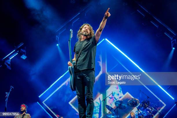 Dave Grohl of the Foo Fighters performs on Day 5 at Festival d'ete de Quebec on July 9 2018 in Quebec City Canada