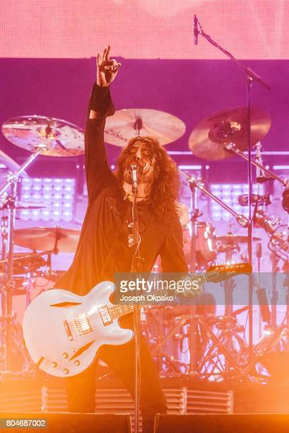 Dave Grohl of the Foo Fighters performs on stage at Roskilde Festival on June 30 2017 in Roskilde Denmark