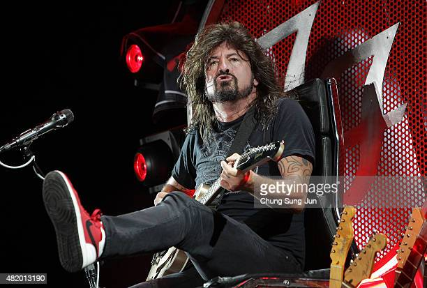 Dave Grohl of the Foo Fighters performs on stage during the Ansan Valley Rock Festival on July 26 2015 in Ansan South Korea