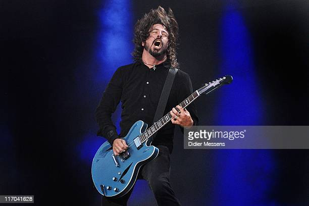 Dave Grohl of the Foo Fighters performs on stage during the third and final day of Pinkpop Festival at Megaland on June 13, 2011 in Landgraaf,...