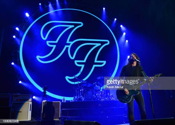 Dave Grohl of the Foo Fighters performs onstage at the Global Citizen Festival at Central Park Great Lawn on September 29 2012 in New York City