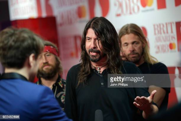 AWARDS 2018*** Dave Grohl of The Foo Fighters winner of the Best International Group award is seen in the winners room during The BRIT Awards 2018...