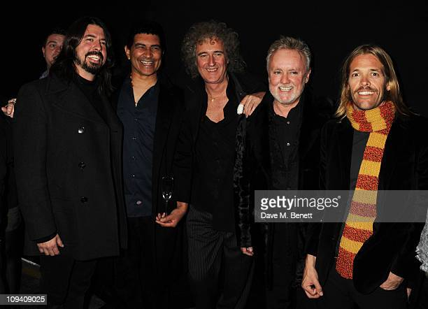 Dave Grohl Pat Smear Brian May Roger Taylor and Taylor Hawkins attend the private view of 'Stormtroopers In Stilettos' an exhibition celebrating 40...