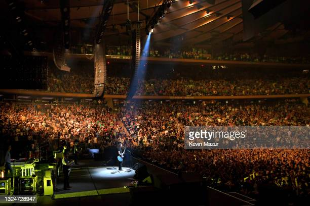 Dave Grohl performs onstage as The Foo Fighters reopen Madison Square Garden on June 20, 2021 in New York City. The concert, with all attendees...