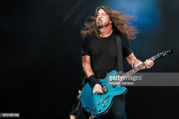 Dave Grohl singer member of the band Foo Fighters performs live on stage at Allianz Parque on February 27 2018 in Sao Paulo Brazil