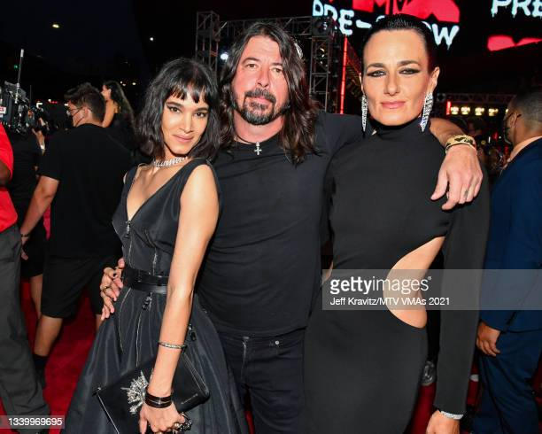 Dave Grohl , Sofia Boutella and guest attend the 2021 MTV Video Music Awards at Barclays Center on September 12, 2021 in the Brooklyn borough of New...
