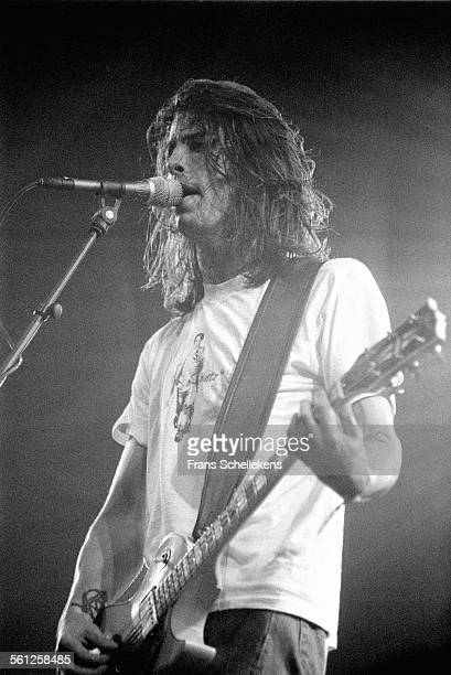Dave Grohl, vocal and guitar, performs with Foo Fighters at Lowlands festival on August 26th 1995 in Biddinghuizen, Netherlands.