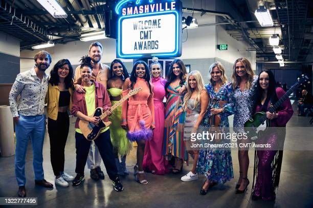 Dave Haywood and Charles Kelley of Lady A, Tamara Chauniece, Stacy Johnson, and Kasi Jones of The Shindellas, Hillary Scott of Lady A, Lindsay Ell,...