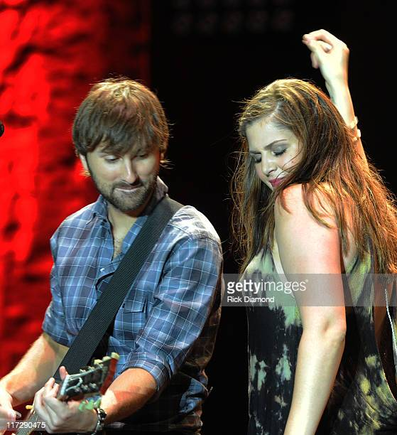 Dave Haywood and Hillary Scott of Lady Antebellum perform during The 2011 Country Stampede Day 2 at Tuttle Creek State Park on June 24 2011 in...