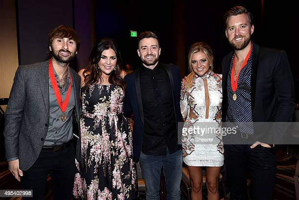 Dave Haywood and Hillary Scott of Lady Antebellum singersongwriters Justin Timberlake and Kelsea Ballerini and Charles Kelley of Lady Antebellum...