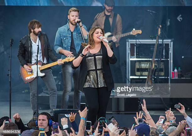 Dave Haywood Charles Kelley and Hillary Scott of Lady Antebellum perform on April 5 2015 for the 2015 March Madness Music Festival Day 3 in...