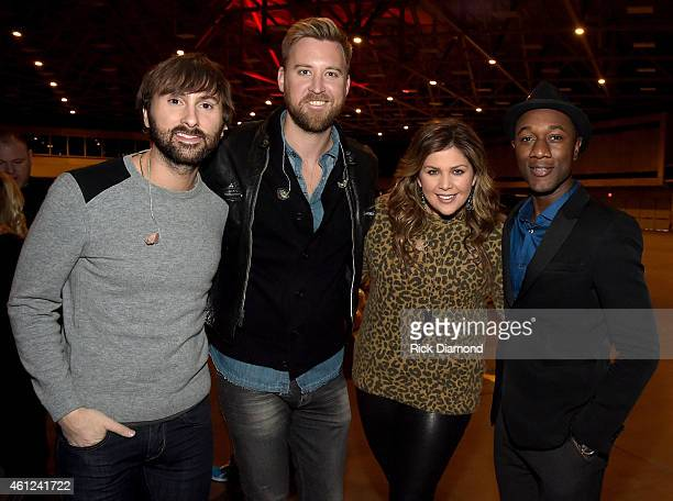 Dave Haywood Charles Kelley and Hillary Scott of Lady Antebellum pose backstage with Aloe Blacc during rehearsals for the CMT ULTIMATE KICKOFF PARTY...