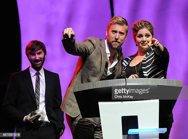 Dave Haywood Charles Kelly and Hillary Scott of Lady Antebellum accept their induction into the 36th annual Georgia Music Hall of Fame Awards at the...