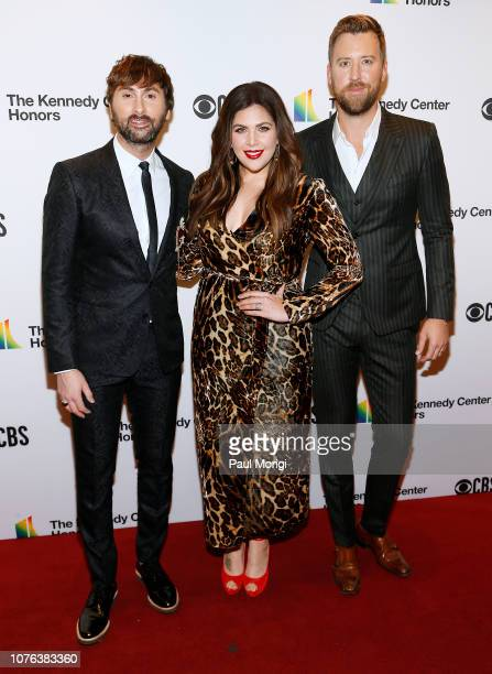 Dave Haywood Hillary Scott and Charles Kelley of Lady Antebellum arrive at the 2018 Kennedy Center Honors at The Kennedy Center on December 02 2018...
