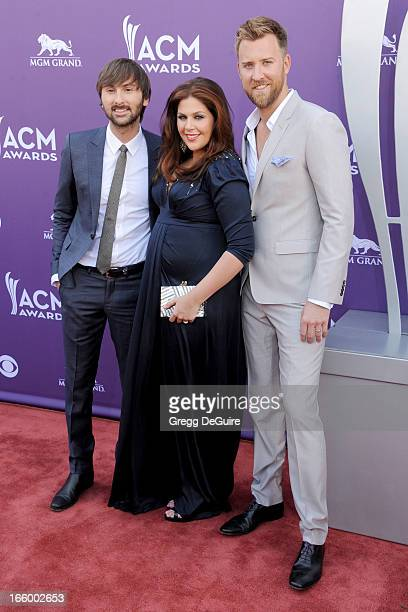 Dave Haywood Hillary Scott and Charles Kelley of Lady Antebellum arrive at the 48th Annual Academy Of Country Music Awards at MGM Grand Garden Arena...