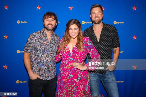 Dave Haywood Hillary Scott and Charles Kelley of Lady Antebellum visit Spotify House during CMA Fest at Ole Red on June 09 2019 in Nashville Tennessee