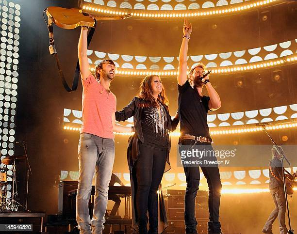 Dave Haywood, Hillary Scott and Charles Kelley of Lady Antebellum perform during the 2012 CMA Music Festival on June 7, 2012 in Nashville, Tennessee.