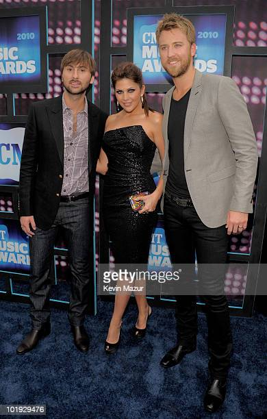 Dave Haywood Hillary Scott and Charles Kelley of Lady Antebellum attend the 2010 CMT Music Awards at the Bridgestone Arena on June 9 2010 in...