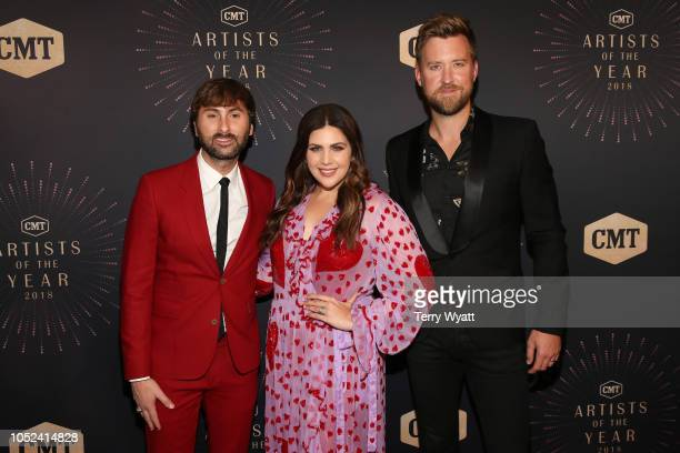 Dave Haywood Hillary Scott and Charles Kelley of Lady Antebellum attend the 2018 CMT Artists of The Year at Schermerhorn Symphony Center on October...
