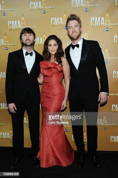 Dave Haywood Hillary Scott and Charles Kelley of Lady Antebellum attend the 44th Annual CMA Awards at the Bridgestone Arena on November 10 2010 in...