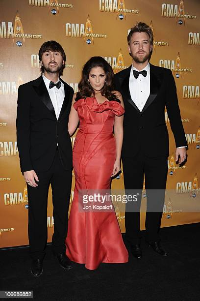 Dave Haywood Hillary Scott and Charles Kelley of Lady Antebellum attends the 44th Annual CMA Awards at the Bridgestone Arena on November 10 2010 in...