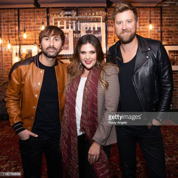 Dave Haywood Hillary Scott and Charles Kelley of Lady Antebellum during the Hilton Honors Exclusive Listening Session and Q A with Lady Antebellum as...