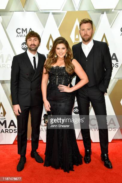 Dave Haywood Hillary Scott and Charles Kelley of Lady Antebellum attend the 53rd annual CMA Awards at the Music City Center on November 13 2019 in...