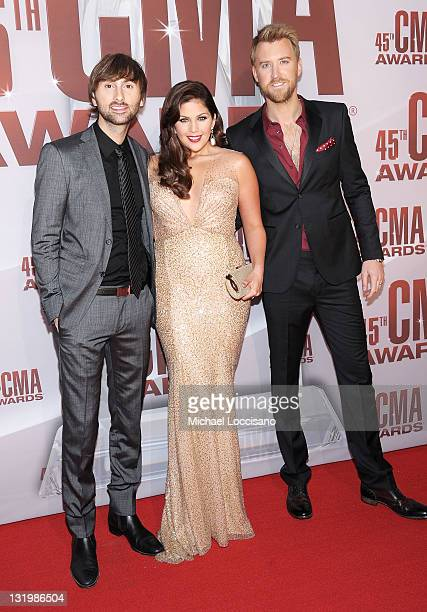 Dave Haywood Hillary Scott and Charles Kelley of Lady Antebellum attend the 45th annual CMA Awards at the Bridgestone Arena on November 9 2011 in...