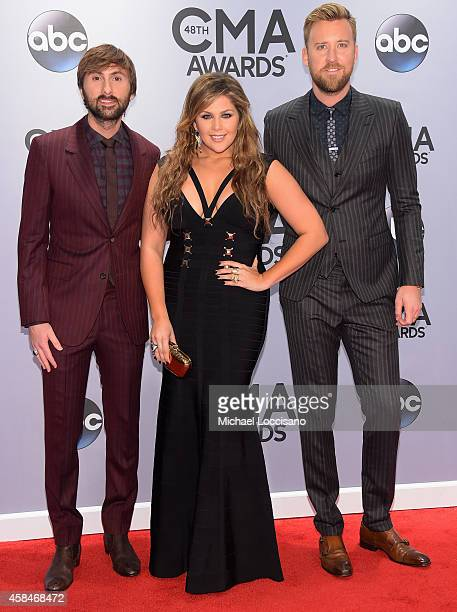 Dave Haywood, Hillary Scott, and Charles Kelley of Lady Antebellum attend the 48th annual CMA Awards at the Bridgestone Arena on November 5, 2014 in...