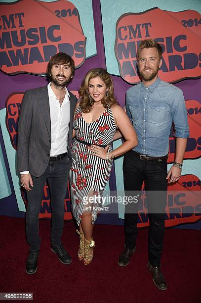 Dave Haywood Hillary Scott and Charles Kelley of Lady Antebellum attend the 2014 CMT Music awards at the Bridgestone Arena on June 4 2014 in...