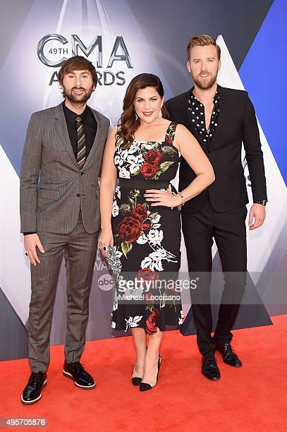 Dave Haywood Hillary Scott and Charles Kelley of Lady Antebellum attend the 49th annual CMA Awards at the Bridgestone Arena on November 4 2015 in...
