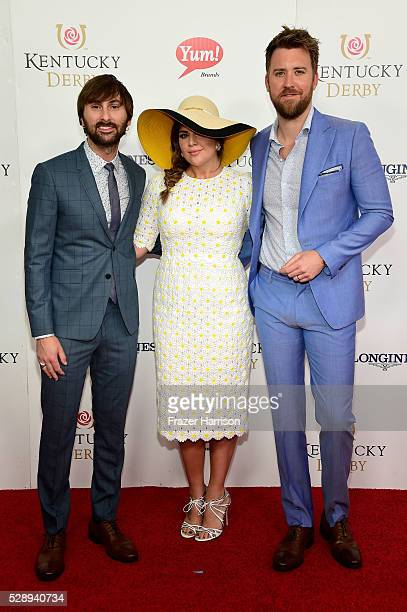 Dave Haywood Hillary Scott and Charles Kelley of Lady Antebellum attend the 142nd Kentucky Derby at Churchill Downs on May 07 2016 in Louisville...