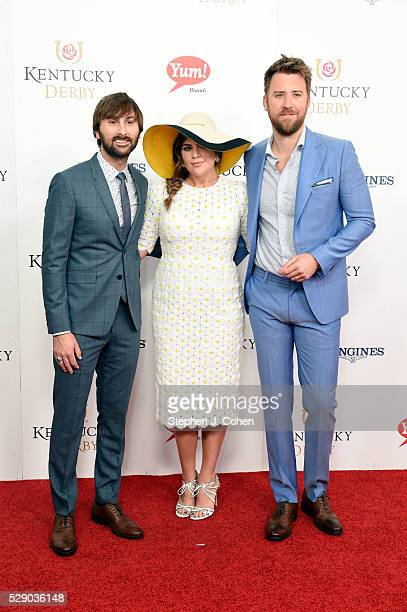 Dave Haywood Hillary Scott and Charles Kelley of Lady Antebellum attends the 142nd Kentucky Derby at Churchill Downs on May 7 2016 in Louisville...