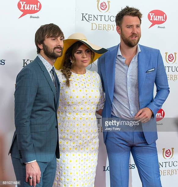 Dave Haywood Hillary Scott and Charles Kelley of Lady Antebellum attends the 142nd Kentucky Derby at Churchill Downs on May 07 2016 in Louisville...