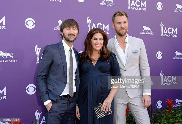Dave Haywood Hillary Scott and Charles Kelley of music group Lady Antebellum arrive at the 48th Annual Academy of Country Music Awards at the MGM...