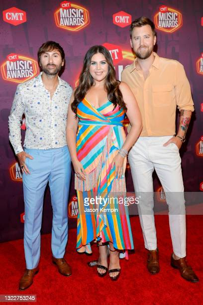 Dave Haywood, Hillary Scott and Charles Kelley of musical group Lady A attend the 2021 CMT Music Awards at Bridgestone Arena on June 09, 2021 in...