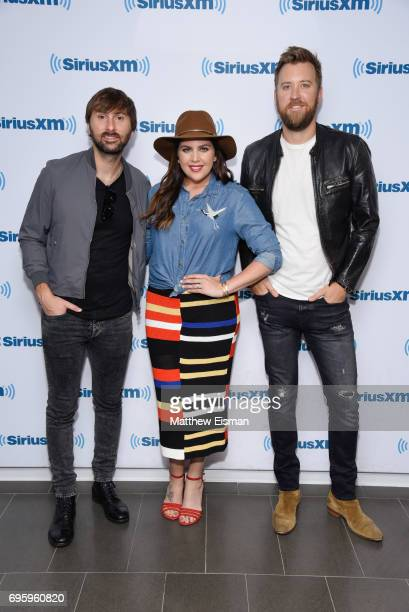 Dave Haywood Hillary Scott and Charles Kelley of the band Lady Antebellum visit SiriusXM Studios on June 14 2017 in New York City