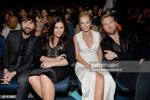 Dave Haywood Hillary Scott Cassie McConnell and Charles Kelley attend the 2013 American Music Awards at Nokia Theatre LA Live on November 24 2013 in...