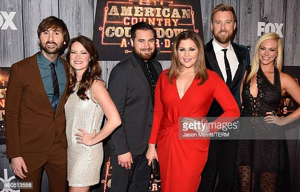 Dave Haywood of Lady Antebellum Kelli Cashiola Chris Tyrrell Hillary Scott and Charles Kelley of Lady Antebellum and Cassie McConnell attend the 2014...